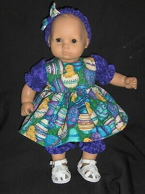 """SALE Easter Chick Dress 15"""" Doll Clothes Handmade2Fit American Girl Bitty Baby"""