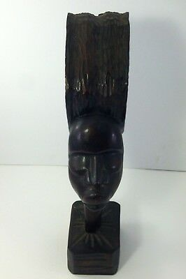 African Kenya Tribal Hand Carved Wood Statue Human Figure Head Wooden Sculpture