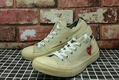 71ed742c2a4 Converse Comme Des Garcons Play All Star Womens Trainers Sz 6 US 8 EU 39  Heart
