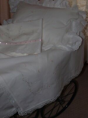 Hand Embroidered White Cotton Voile Baby Wrap & Matching Bassinet Sheet Set