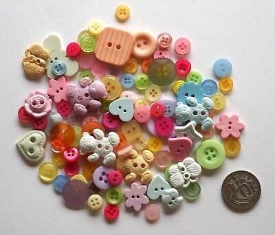 No 66 Novelty Buttons - 80 Plus Mixed - Scrapbooking Scrapbook Sewing Craft