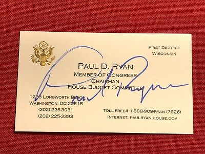 Vintage - Speaker PAUL RYAN signed Budget Chairman business card from 2012!!