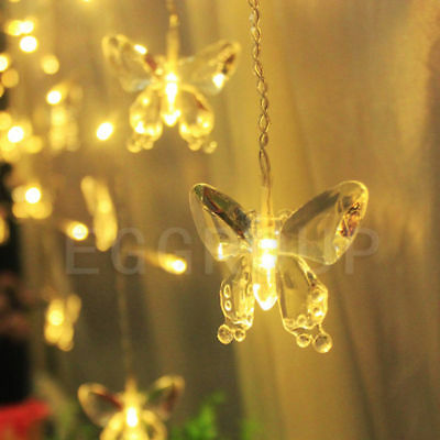 Solar Powered / Battery Butterfly LED Fairy String Light Party Xmas Warm White