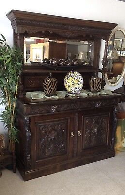 Antique Tiger Oak Buffet Sideboard Greenman Gothic Hunting Cabinet Mid 1800's