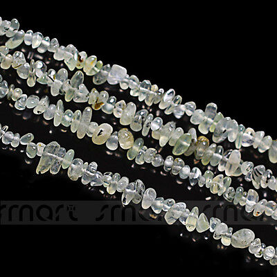 "Natural Prehnite Gem Gravel Freem Form Loose Gemstome Beads 15.5"" Inches Strand"