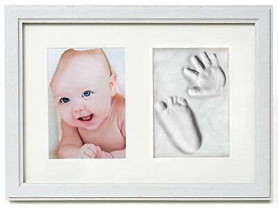 Premium Baby Hand and Footprint Frame Kit by 2 Little Bears | Solid Wood, Real |