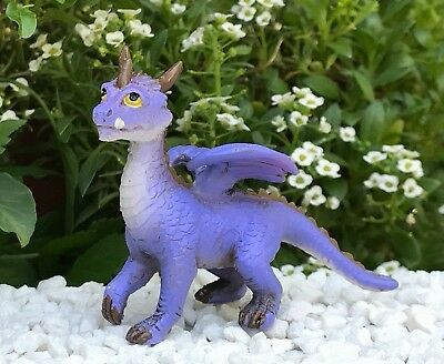 Miniature Dollhouse FAIRY GARDEN Figurine ~ Mini Purple Dragon ~ NEW