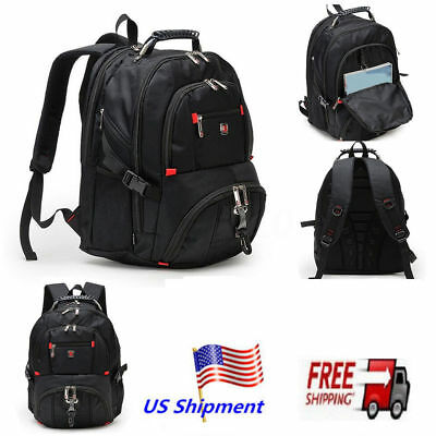 "Men's Nylon Laptop Backpack Travel School Pack 15.6"" Notebook Bag Waterproof MAX"