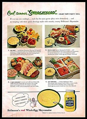 1956 Hellmann's Real Mayonnaise Dressing Serving Suggestions Vintage 1950s Ad