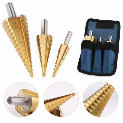 3pcs Large HSS Steel Step Cone Drill Titanium Bit Set Hole Cutter 4-12/20/32mm