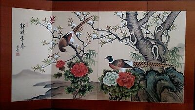 Vintage Chinese Screen Featuring Pheasants Floral and Tree Scene Signed