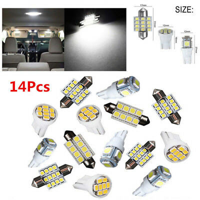 14Pcs Interior Package Kit For T10&31mm Map Dome License Plate LED Lights White