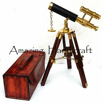Nautical Solid Brass Telescope Nautical Tripod Wooden Brass Stand Nautical Decor