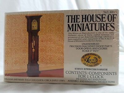 "New House of Miniatures, Scale 1""- 1' William and Mary Tall Case Clock 1700's"