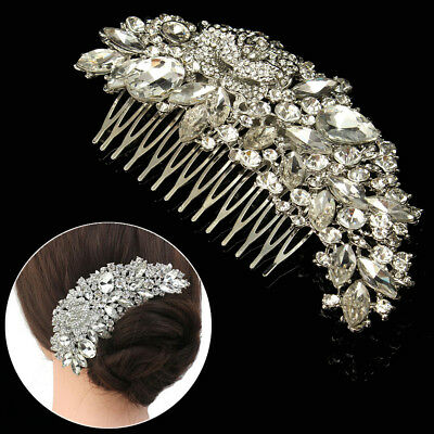Wedding Bridal Jewelry Rhinestone Crystal Flower Silver Hair Comb Pins Clips USA