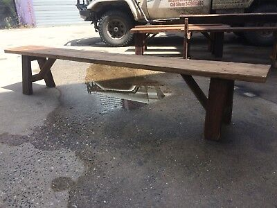 Outdoor Industrial Reclaimed Recycled HardwoodTimber bench Seat Vintage
