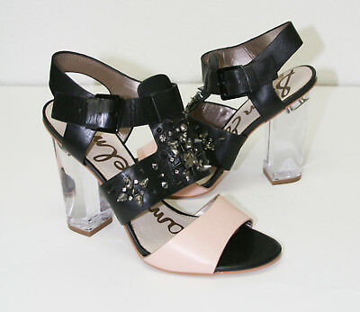 025fd6520a43 Womens Sam Edelman Strappy Leather Transparent Heel Sandals Shoes 7.5 New ( Sam)