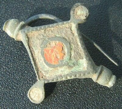 Roman Ancient Bronze Enamelled Fibula Brooch 700-800 A.D.