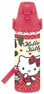 Direct stainless steel bottle 600ml Hello Kitty Plaid