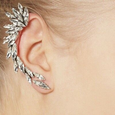 Stud Ear Crawler Full Rhinestone Ear Cuff Wrap Clip Earring Jewelry Shiny Women