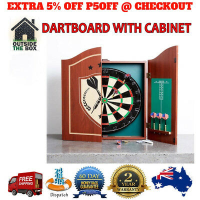 Dartboard With Cabinet Wooden Sports Games 6 Darts Set Scoreboard Pub Pro Style