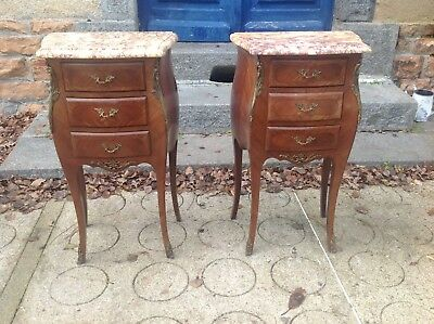 French antique vintage Louis XV style matching bedside tables