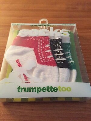 Red, Black and Green 3 Pair Of Socks Trumpette Too 0-6 Months