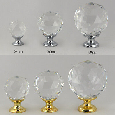 Crystal Glass Door Knobs Drawer Cabinet Cupboard Furniture Kitchen Handle Pull