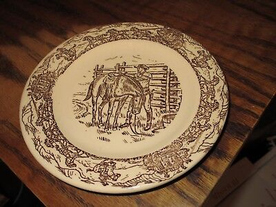 Western Traveler Tepco bread plate cowboy w/ horse stagecoach ca 1950s brown