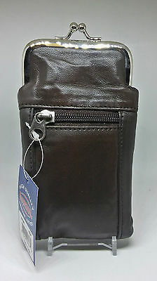 Marshals Brown Leather Cigarette Case W/ Front Zippered Pocket
