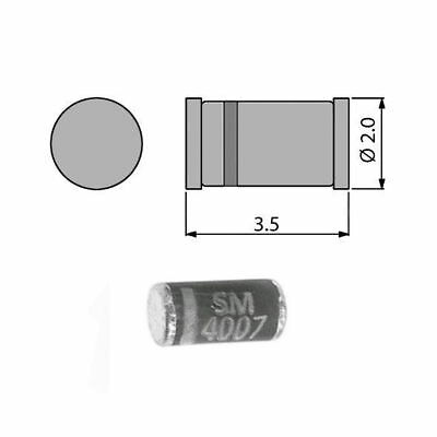 10x smd sm4007 silicon rectifier diode redresseur diodes do-213ab 1000v 1a