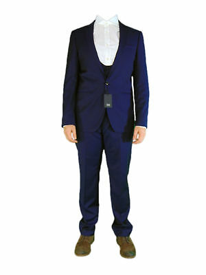 AUSTIN REED Mens Blue 100% Wool 3 Piece Suit Set Jacket Waistcoat and Trousers