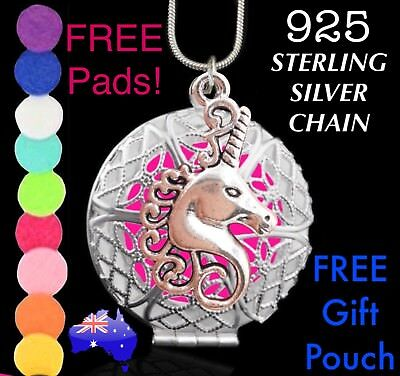 Unicorn Aromatherapy Essential Oil Diffuser Locket 925 Sterling Silver Necklace