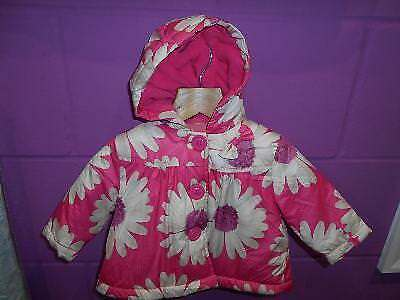 Next Baby Girls Pink Cream Floral Padded Hooded Coat (Up To 3 Months)