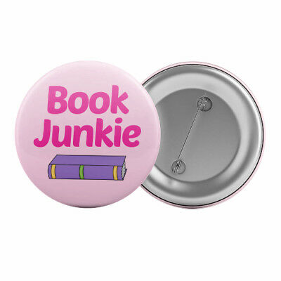 "Book Junkie - Badge Button Pin 1.25"" 32mm Read Books Bookworm Book Club Reading"
