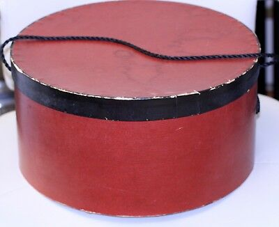 VINTAGE hat box HATBOX tiny gold/red stripe pattern black braided cord handle