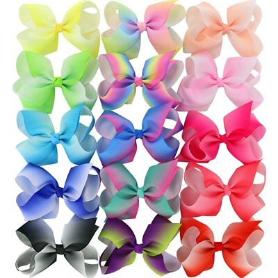 15 Piece 4.5 Inches Grosgrain Girls Hair Bows With Alligator Clips Boutique Big