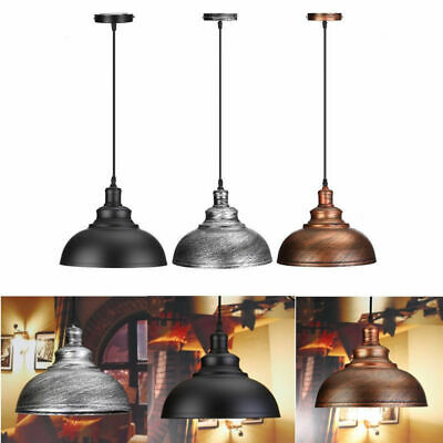 Vintage E27 Ceiling Light Pendant Retro Lamp Industrial Loft Iron Chandelier -UK