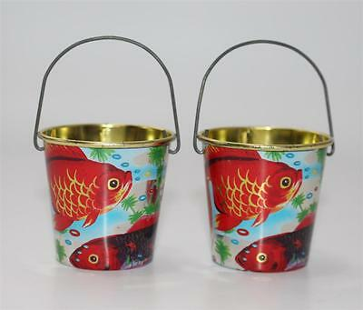 2x ältere Blech Eimer für Puppenstube, Made in Japan Playing Toy, Koi #G373