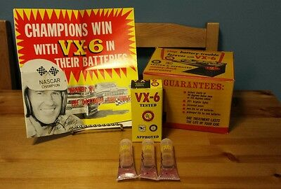 1959 NOS VX-6 Cadmium Battery Additive Box 3 Tubes Gas /& Oil Lee Petty
