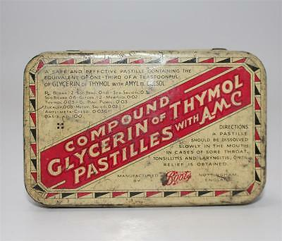 alte Blechdose, Compound Clycerin of Thymol Pastilles Boots England  #F459