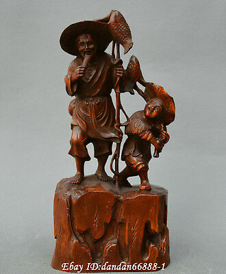 Collect China boxwood Hand carved old man boy go fishing fish fisherman statue