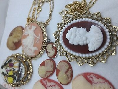 Lot of 11 Vintage Cameo Brooch Pendant Necklace Lady head