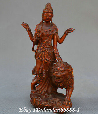 Collect Chinese boxwood Hand carved four-arm Guanyin Kwan-yin lion Buddha statue
