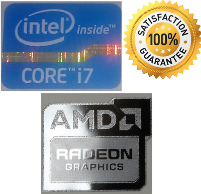 AMD RADEON GRAPHICS + Intel Inside CORE i7 WINDOWS PC 8 sticker 10 7 XP Vista UK