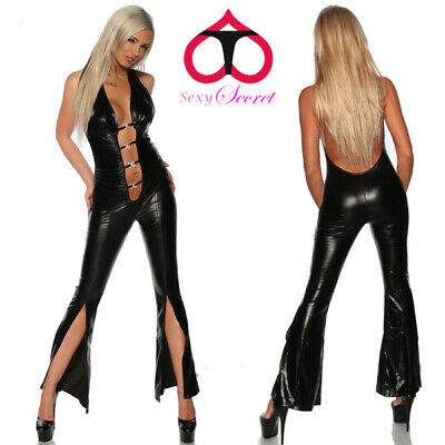 Completo Abito Dominatrice Simil Latex Mistress Clubwear Spacco Laterale Fessura