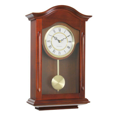 Antique Vintage Style Pendulum Wall Clock Dark Wooden Walnut Westminster Chime