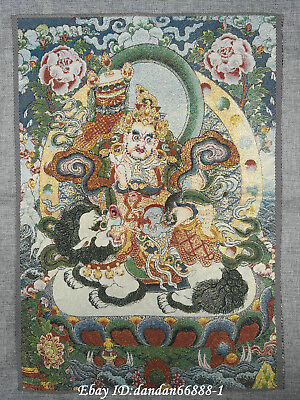 "24/"" Tibet Buddhism Cloth Silk embroidery Four arms Tara Guanyin Thangka mural"