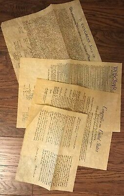 4 Authentic Reproductions on Antiqued Parchment Const-Dec. of Ind-BOR- Getty Add