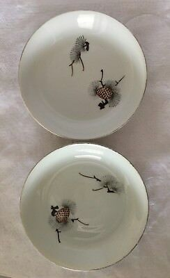 Japanese Orient China Pinecone Set 8 Piece Vintage White Brown